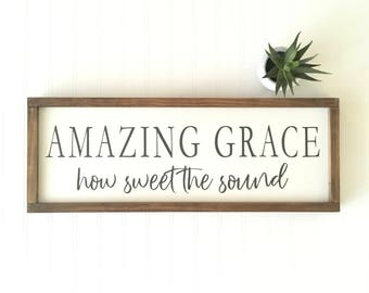 Amazing Grace How Sweet The Sound Sign - Religious - Baptism Gift - Shower Gift