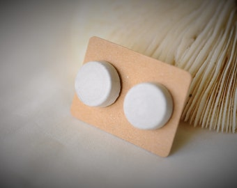 CIMENT boucle d'oreille, boucle d'oreille béton DISQUE rond, en acier inoxydable de poste puces ~ 12 mm - unisexe / Casual / Chic