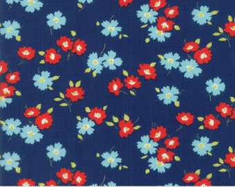 Sunday Drive - Floral In the Meadow Dark Blue by Pat Sloan for Moda, 1/2 yard, 43071 16