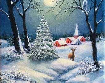 Snow Landscape, Full Moon Landscape Painting, Winter Night Painting, Landscape with Deer and Rabbit, Snow Landscape Art
