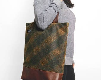 Waxed Plaid and Vegan Leather Handbag
