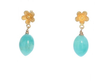 AMAZONITE EARRINGS 18K Gold Vermiel Flower Posts NewWorldGems