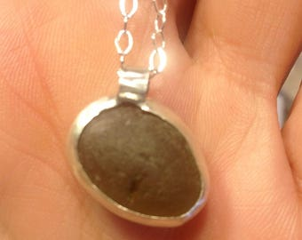Olive Green Sea Glass and Sterling Silver Necklace