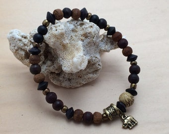 7984- Yoga Bracelet, wood, meditation pearl, elephant