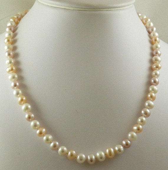 Freshwater Pink & White Off Round Pearl Necklace 14k White Gold 19 1/2 inches
