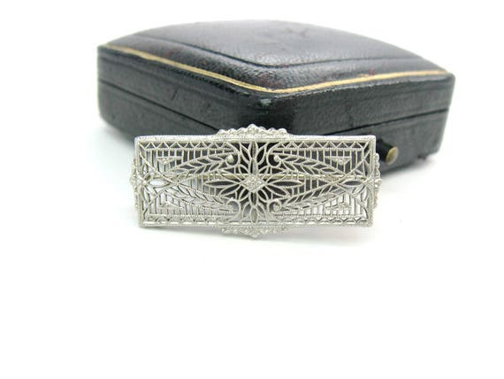 Antique Edwardian Platinum 14K White Gold Filigree Brooch 1900s