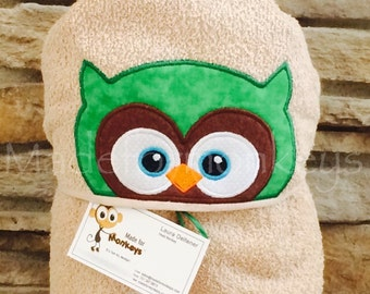 Personalized Hooded Towel Owl