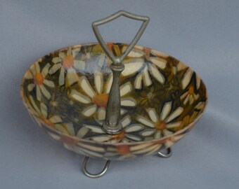 eb1462 Vintage Mid-Century 50's Fiberglass Footed Candy Nut Dish Party