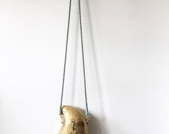 Vintage Tooled Brass Purse , Party Bag , BOHO Purse , Etched Metal Bag