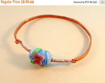 Half Price One week sale On sale -30% Copper Bangle Bracelet with Blue Glass Flower Bead