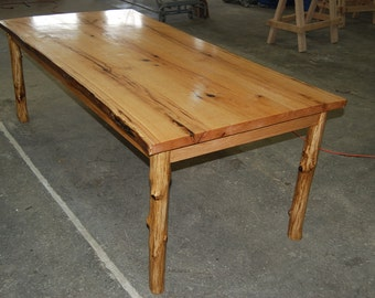 CUSTOM Live Edge Dining Table Made From Red Oak with Sapling Pole-style Legs