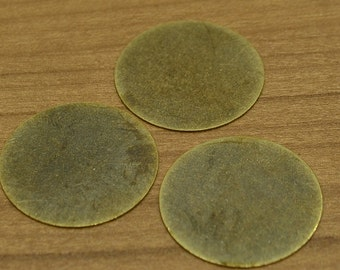 15 Pcs Antique Brass 25 mm Stamping Disc ( No Holes ) Thickness Of 0.45 mm - 25 Gauge