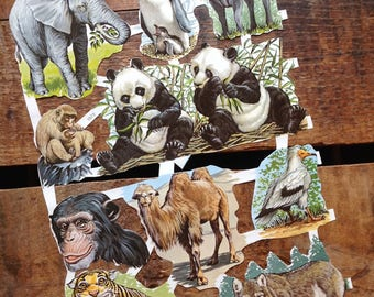 Vintage German Scraps - Wild Animals - Die Cuts, Cut Outs, Paper Ephemera, Vintage Animals, Animal German Scraps, Animal Paper Cut Outs