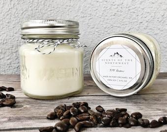 coffee candle - coffee scented - coffee - scented candle - half pint - best seller - french press - farmhouse decor