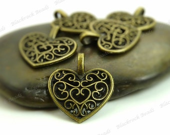 Bulk 24 Heart Shaped Charms 16x15mm Antique Bronze Tone Metal - Filigree Heart  - BA7