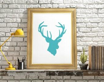 Stag Head Print, Deer art poster, Deer Printable Art, Deer artwork, Deer art print, wall decor modern wall art