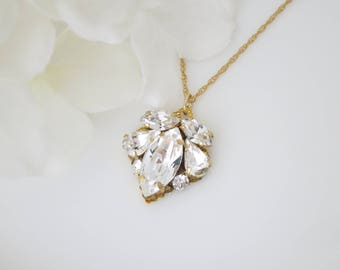 Gold wedding necklace, Simple crystal bridal necklace, Swarovski crystal pendant necklace, Bridesmaid necklace