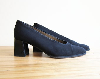 90s does 60s Black Stuart Weitzman Pumps, Square Toe Chunky Heels, Size 6.5 Six and a Half, Women's Dress Shoes, Mod, Cocktail Party