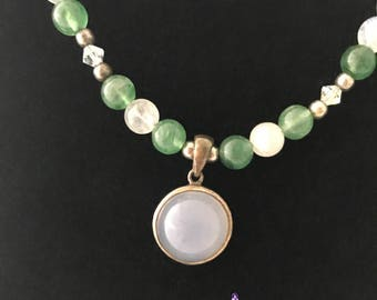 18 inch Moonstone Aventurine Green White Sterling Silver Pendant Bead Necklace with Swarovski Crystals