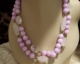 Two strand faceted lavender jade and rose quartz necklace