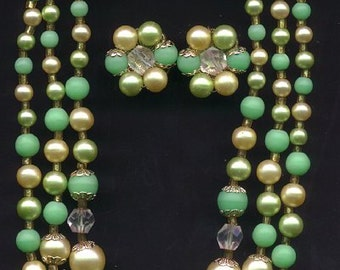 Vintage 3 Strand Light Green & White Beaded Necklace with Clip On Earrings - 1960s