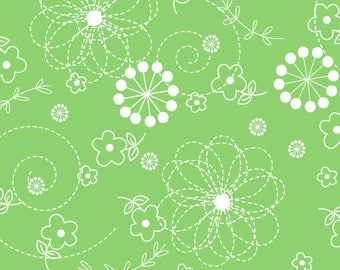 Lil' Sprout Flannel Too! - per yard - FLANNEL - Maywood - Kim Christopherson - Adorable baby/child flannel! - lime green doodle - C