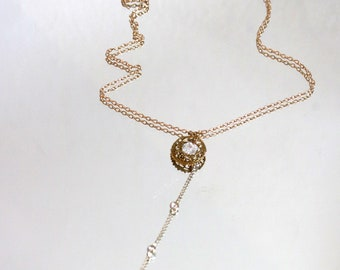 Herkimer Diamond Y Necklace-Healing Crystal Necklace/ Diamond Quartz Filigree Y Necklace/ Dainty Y Necklace with crystal
