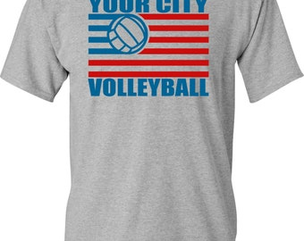 4th of July Volleyball Flag T-shirt White, Gray, and Black