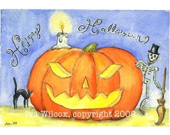 Happy Halloween - PRINT of My Original Watercolor Painting Folk Art