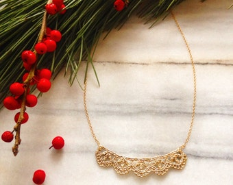 In stock- Leaf Lace necklace in 14k gold plated bronze with oxidized sterling silver chain