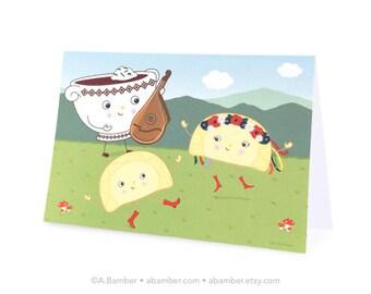Ukrainian Bandura Borsch (Borscht Beet Soup) and Dancing Perogies (Perohy, Varenyky) Blank Greeting Card - Illustration by A.Bamber