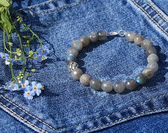 Labradorite Bracelet Labradorite Jewelry Sterling silver bracelet Gemstone Bracelet Lotus bracelet Silver lotus Beaded Bracelet Gift for her