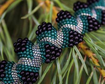 Seed bead bracelet Beaded handmade bracelet Beadwoven green jewelry to buy Beadweaving Beadwork bracelet