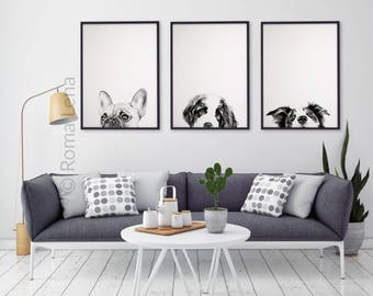Black And White Dog Wall Art Set Of 3 Watercolor Prints Animal  Illustrations Living Room Kitchen Gallery