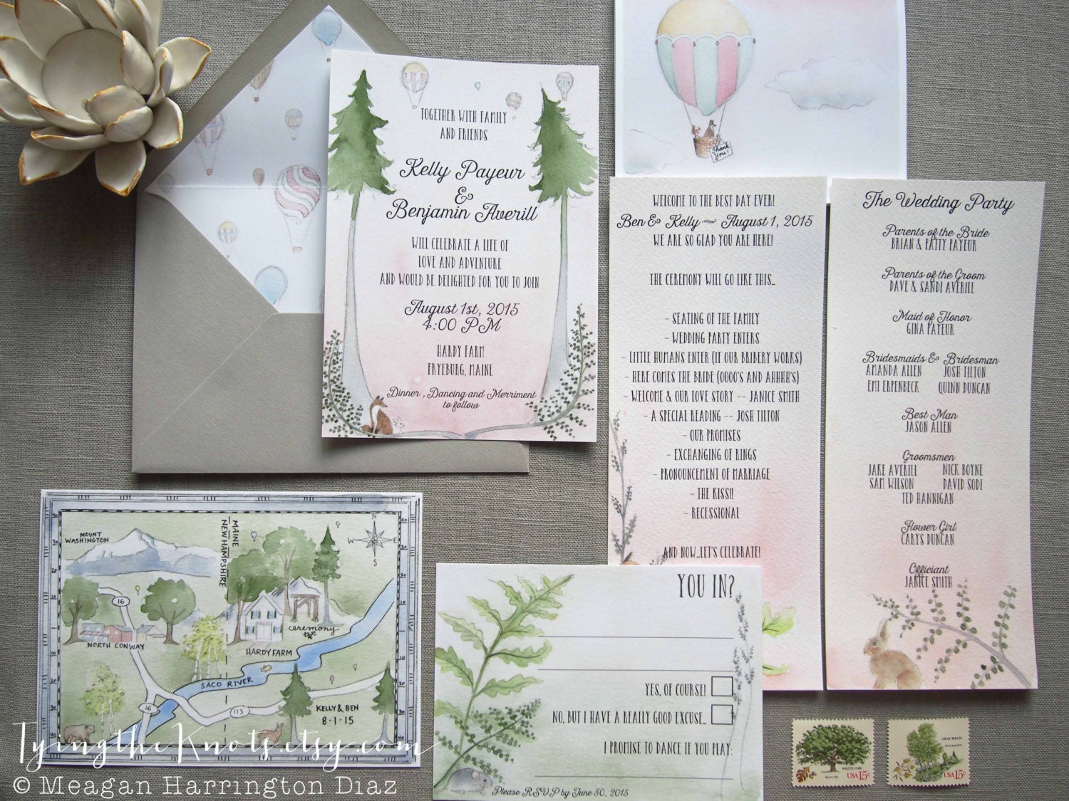 Woodland Wedding Invites Custom Watercolor Wedding Suite