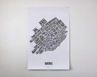 Quebec City Neighborhoods Typographic Map Poster - Quebec City Art - Quebec Map - Quebec Poster