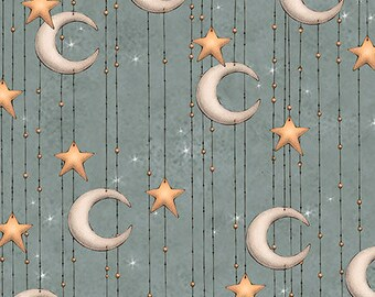 Santoro Adrift Fabric, Stars & Moon, Crescent Moon -  26441 - B Slate - Priced by the Half Yard