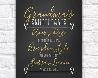 Grandmas Sweethearts, Gift for Grandmother from Grandchildren, Grandkids Birthdays, Gold, Black and White, Modern Calligraphy Gift | WF516