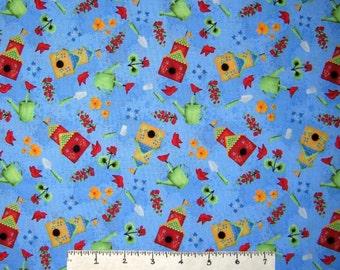Spring Fabric - Garden Frolic Birhouse Flower Tools Toss Blue - RJR YARD