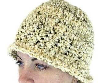 Crochet Hat - Natural Serenity Tweed Cloche in Silky Yarn
