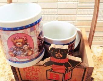 Vintage Wooden Bear Basket & Teddy Bear Mug Set of (2) - Excellent Vintage Condition!!