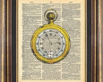 Stopwatch Pocket Watch antique Dictionary page art print book page art print up cycled
