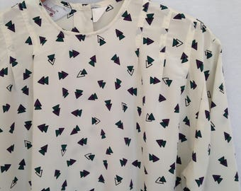 1980s triangle print pleated blouse by COURTNEY RHODES, sz 6P