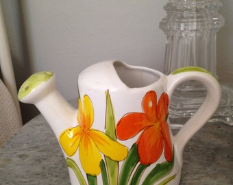 Midcentury orange and yellow Italian ceramic watering can