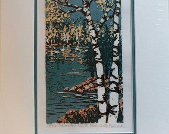 Adirondack Lake VI linoleum block print 9 x 12