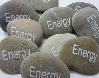 ENERGY Carved River Rock Word Stone Worry Stone Garden Stone Palm Stone Healing Stone Paper Weight