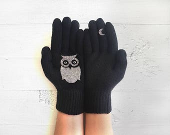 Wildlife Gift, Owl Gift, Owl Gloves, Animal Gloves, Owl Lovers, Black Gloves, Pet Gift, Animal Gift, Sales Event, Wildlife Kingdom, Animals