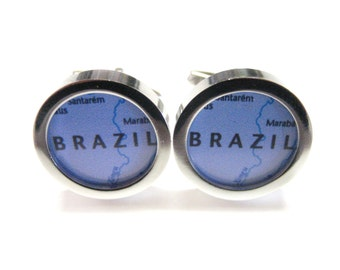 Brazil Map Pendant Cufflinks