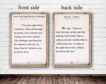Twas the night before Christmas - 2 sided Sign - Dalai Lama on the second side - Or we can do a custom verse