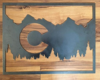 Colorado Flag with Mountains and Trees 20x18